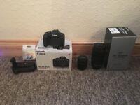 Canon 800D DSLR EOS Camera Inc EF-S 18-55 Lens & 70-300 IS II USM Lens Battery Grip 3 x Batteries