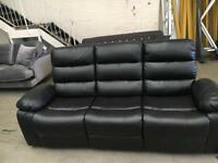Black faux leather recliner 3 seater