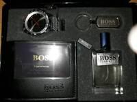 Mens Hugo boss watch aftershave leather wallet keyring gift set