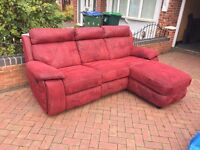 Recliner corner sofa - sofa with lounge - dark red colour // free delivery