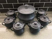 Le Creuset pot and serving bowls