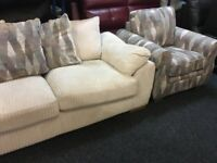 New/Ex Display Dfs Cream Cord 3 Seater Sofa + 1 Seater Chair