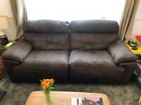 Brown suede leather reclining sofa