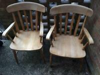 2 x solid wood chairs £30ovno