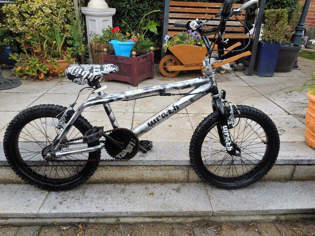 18 inch wheel black and silver bmx bike