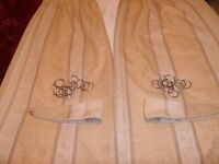 Lovely Gold and Cream Curtains Complete with Tie Backs Hooks And Rings