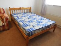 """Pine Framed 4' 6"""" Double Bed with mattress."""