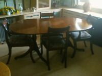 Solid Mahogany D-End Twin Pedestal Dining Table and six chairs made by Simbeck of High Wycombe