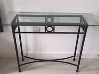 Glass and wrought iron hall /side table
