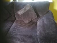 3 seaterChocolate corduroy sofa with leather trim and matching cushions