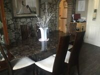 Dining Table with 6 high backed chairs in brown marble