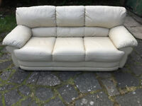 3 seater cream leather sofa Free delivery