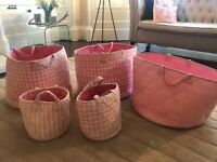 Jojo Amman Bebe storage bags, pink gingham, large and small sizes