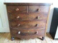 Antique Bow front Chest of Drawers.. Shabby Chic project?...