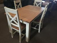 Ivory and oak brand new table and 4 (ex-display/seconds) chairs