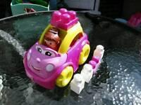 Mega blocks car with character & blocks