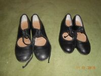Black Capezio tap dancing shoes toe and heel taps sizes 1 and 3 £4 each or £6 for the two