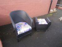 Lloyd Loom Style Chair and storage Stool