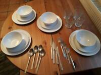 Dish Set, Cutlery and Glasses x4