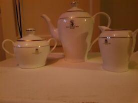Golden jubilee teapot, milk pot, sugar pot