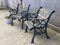 PAIR OF VINTAGE WROUGHT IRON GARDEN CHAIRS