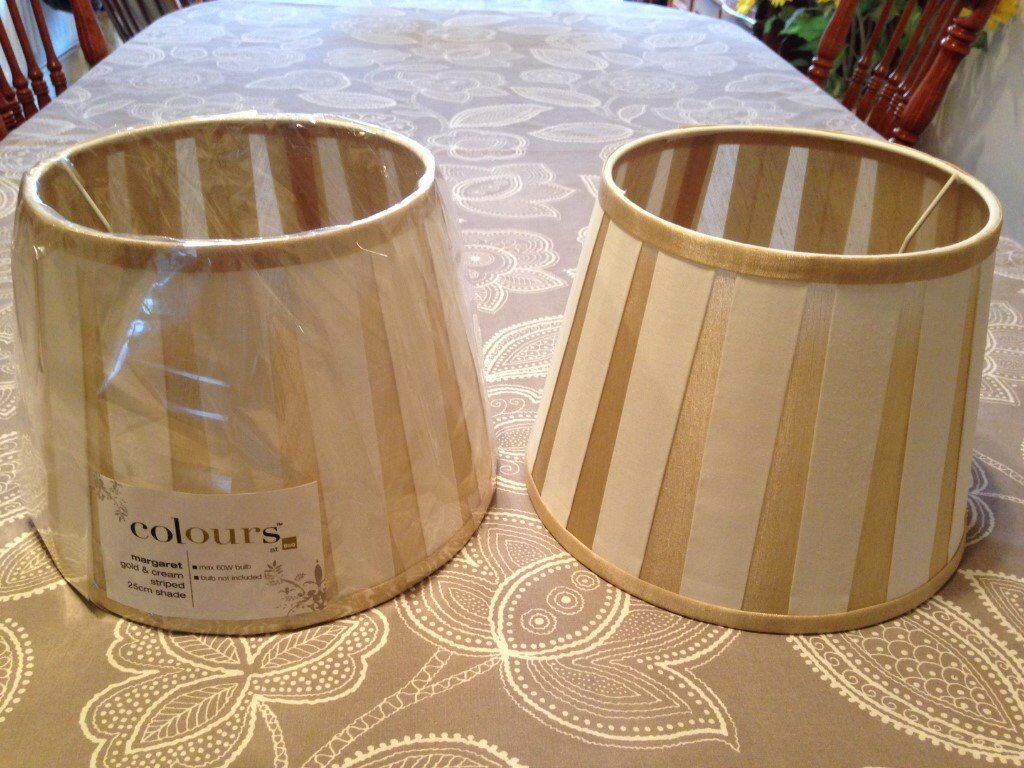 Two Unused Colours at B Q Margaret Gold and Cream Striped 25cm