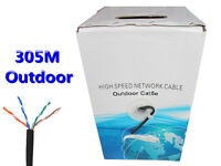 305M 1000Ft CAT5e Outdoor High Speed Ethernet Network Cable Copper Conductor RJ45 Solid UTP Black