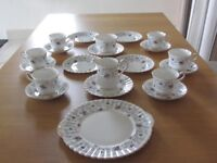 """A Bone China Purple Flowered Royal Stafford """"Enchanting"""" Tea Set In Immaculate Condition"""
