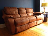 3 Seater Recliner Sofa (soft faux-suede) includes fabric care kit