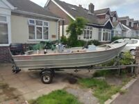 Seastrike Semi Vee 14' aluminium boat, 25hp Johnson commercial spec outboard