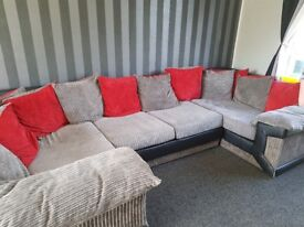 Large red grey and black sofa