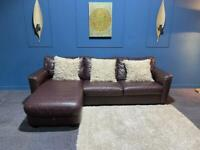 Brown leather corner chaise with ottoman