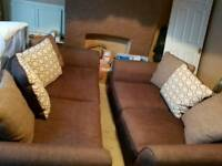 1x 2 Seater and 1x 3 Seater Brown Fabric Sofas