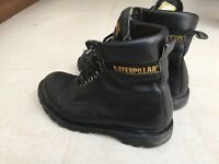 Mens Black Caterpillar Steel toe cap boots - Size 10 - Good condition