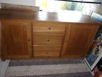 BARKER & STONEHOUSE solid light oak sideboard cupboard drawers