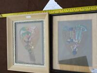 Lot#32--2 PAINTINGS DONE ON LEAVES IN FRAMES $10/pr