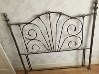 KING Size black nickel metal lovely vintage look headboard - great condition - collection only