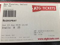 Two tickets to see Hairspray