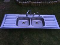 Double sink, double drainer and taps
