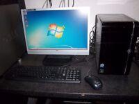 "Packard bell computer system, 2.4ghz-quad core, Windows 7, 500gb Hdd, 4gb Mem, 19"" wide screen"