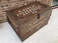 Lovely old wooden chest. VERY HEAVY