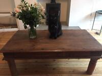 2 rustic brown wood coffee tables