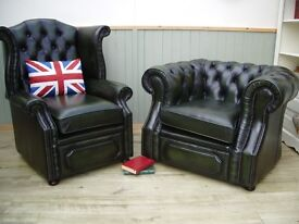 Stunning Pair of Green Leather Chesterfield Queen Anne and Club Chairs