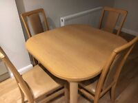 EXTENDING DINING TABLE & 4 CHAIRS in LIGHT OAK by BEAVER & TAPLEY