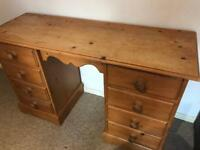 rustic solid pine pedestal desk table