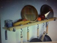 Taylor and NG Beech Wood Kitchen Shelf / Pot Rack with Aluminium hooks