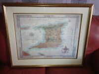 large framed map of trinidad west indies