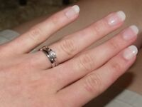 18ct White Gold engagement ring with 0.4 ct diamond solitaire and plain 18ct White Gold wedding band
