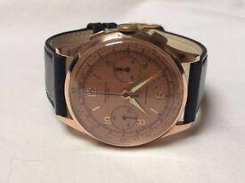 Large Vintage 18k 18ct solid rose gold Chronograph Suisse swiss mens watch (Landeron) REDUCED