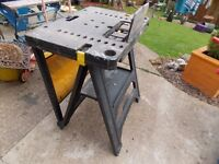 Stanley saw horse come work bench and tool storage with built in vice